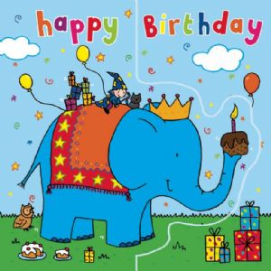 Blue Elephant Birthday Card, Sparkly Card,  Pop Out Card TW199
